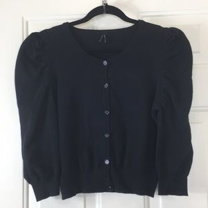 Lapis, Ruched Long Sleeves, Black, Sweater. S.